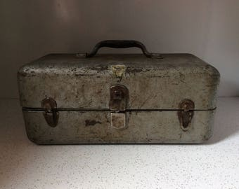 Vintage Metal Tackle Box For Jewelry Or Craft Supplies