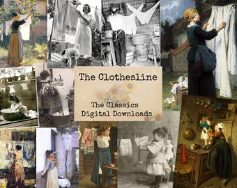 The Clothesline - Digital Ephemera Classics, Digital Images, Vintage Art, Instant Download, Digital Paper, Digital Collage