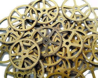 Steampunk Clock Gears 8pcs Vintage Industrial Large Gears Brass Wheels Size 62 mm Rustic Home Decor Clock Parts