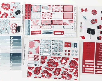 Lady in Red Foiled//6 Sheet Weekly Kit//Erin Condren//Happy Planner
