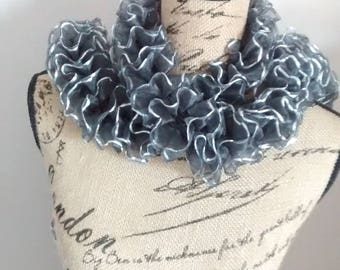 Scarf / scarf in grey tulle with silver border