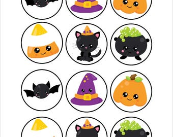 Edible Halloween Cupcake Cookie Toppers