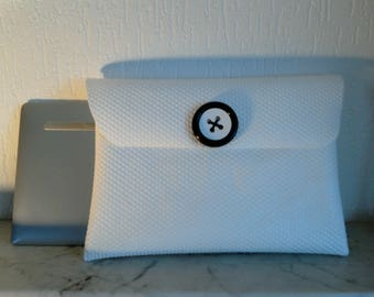 Upcycling, white cover with flap for Tablet storage Pocket 10 inches or other post consumer material, made hand