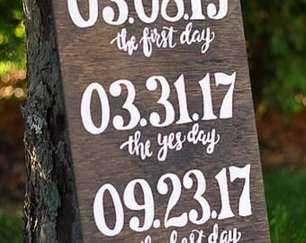 Wooden milestone anniversary sign | wooden sign | three date sign | special dates sign