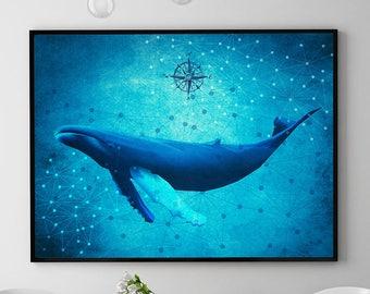Humpback Whale Print, Marine Wall Art Decor, Whale Painting, Ocean Poster, Coastal Decor, Home Decorations, Kids Room (N414)