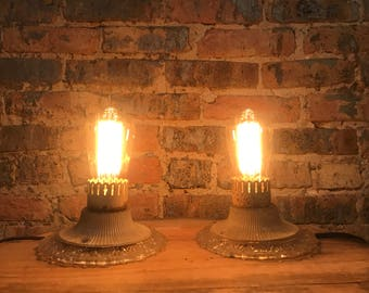 Pair of Antique Glass Flush-Mount Ceiling Single Light Fixtures