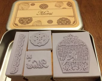 Merci Rubber Stamp Set of 4 in Tin Case