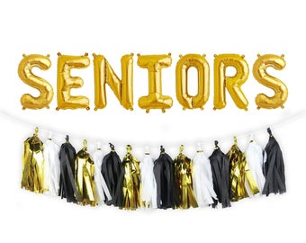 "SENIORS Letter Balloons | 16"" Gold Letter Balloons 