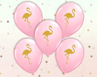 "PINK Flamingo BALLOONS | Flamingo Theme Balloons | Pink and Gold Color Theme Party | 11"" Latex Balloon Set | Set of 5"