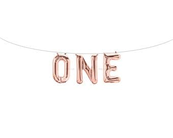ONE Rose Gold Letter Balloons | Metallic Letter Balloons | Rose Gold Party Decorations | First Birthday Balloon | First Birthday Banner