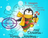 SALE-Digital Stamp, Digi Stamp, Digistamp, Candy Cane Penguin by Conie Fong, Penguin, Christmas, candy cane, coloring page
