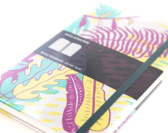 Limited Edition Moleskine Ruled Notebook with Tropical Leaves in Purple, Green, and Yellow