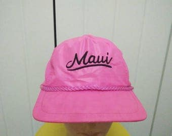 Rare Vintage MAUI Embroidered Neon Pink Cap Hat Free size fit all