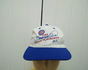 Rare Vintage CHICAGO CUBS 98' Season To Remember Embroidered Spell Out Cap Hat Free size fit all