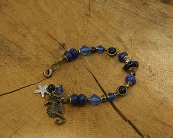 Bronze antique, handmade Pearl, lapis lazuli, onyx and Crystal bracelet