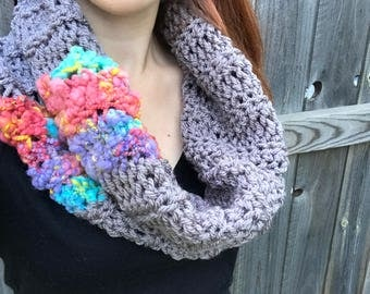 Chunky, Soft Handspun Yarn Cowl, Crochet Outlander Inspired Scarf, Colorful Fall Accessories, Gray / Red / Blue / Purple
