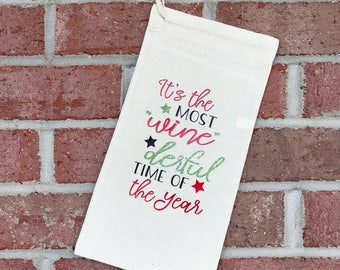 Christmas Wine Bag - Holiday Wine Bag - Christmas Wine Tote - Holiday Wine Tote - Christmas Wine Gift - Most Winederful Time Of The Year