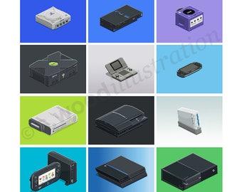 """Classic Consoles Retro Pixel Art Print 8"""""""