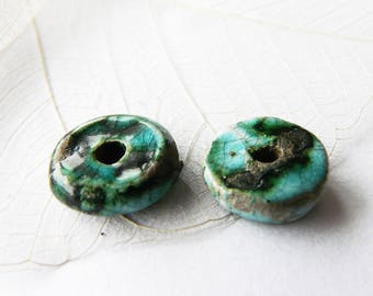 Pair of donuts, green tones, unique raku ceramic beads