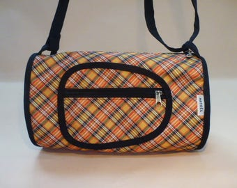 yellow black Plaid duffel bag