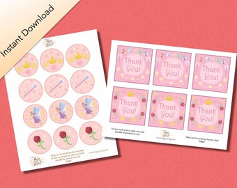Princess Printable Birthday Packet, Princess Theme Cupcake Toppers, Princess Theme mini thank you cards, Digital Download Fairy Princess