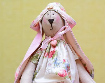 Handmade Rabbit Bunny Tilda Stuffed Animal Soft Toy Gift