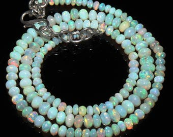 """41 Ctw 1Necklace 3to6 mm 17"""" Beads Natural Genuine Ethiopian Welo Fire Opal ET149"""