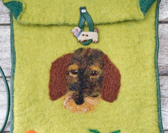 Wet Felted Shoulder Bag, Dachshund, Flowers, Unique, Gift, Special (this one is now sold)