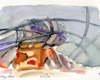 5x7 - Gehry Shell - Original Watercolor Painting