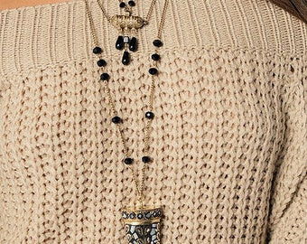 Boho Horn Antique Style Statement Necklace - WOW