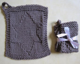 """Two Dish-cloths , potholders  """"star"""" hand knitted in a very soft cotton"""