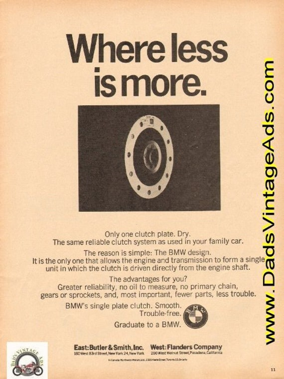 1964 BMW - Where less is more. Single Clutch Plate Ad #d64da12
