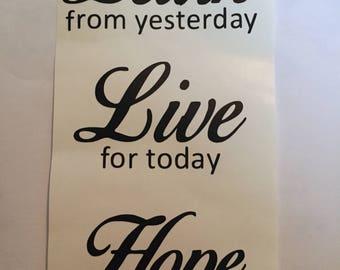 Learn live hope vinyl decal wine bottle sticker