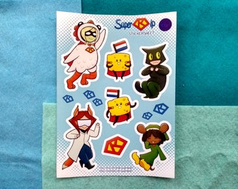 SuperKip Chibis - Funny Characters - Sticker Sheet - 7 stickers