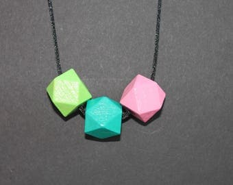 Wooden necklace // Wooden jewelry // Geometric Beads // Summer necklace // Teacher's Gift