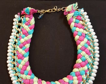 yarn wrapped rope necklace with pearls