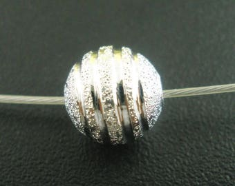 set of 10 8mm ridged Depolies silver STARDUST beads