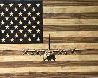 Flag & c130 wood burning