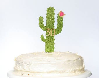 Cactus Themed Birthday Cake Topper. Custom Name and Age. Girl, Boy. Thirty. Party Decorations. Second. Third. Ten. 18th. 30th. 40th. 21st.