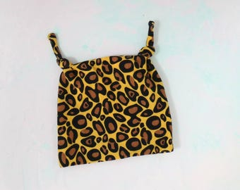 Leopard print baby hat, made from organic cotton jersey knit, sizes 0-6 months and 6-12 months