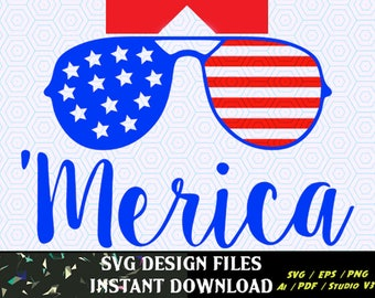 Merica SVG, American flag Sunglasses frames, 4th of July svg, Memorial Day, 4th of July  SVG, 4th of July SVG, T-Shirt Designs, Decal svg