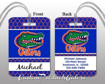 College Luggage Tag, Florida Gators, Personalized Luggage Tag, Suitcase Bag Tag, Fun Luggage Tag