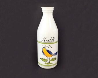 Milk Glass Bottle by Egizia of Italy, Vintage Glassware, Milk Glass Bottle with Bird