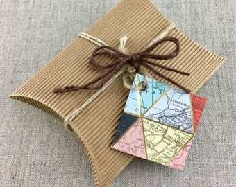 Cartography Map Folded Tags, 1 inch X 1 inch Card Tags, Travel Gift Tags, Vintage World Atlas Map Tags, Gift Wrapping Supplies