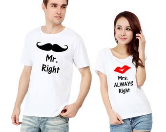New mr right, mrs always right couple t shirt