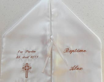 Scarf of christening and communion custom embroidered inscription