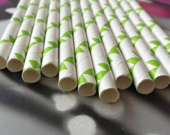 Set of 12 straws green flags