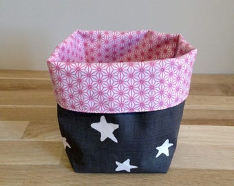Reversible cotton and coated cotton storage basket / Asanoha rose and star grey