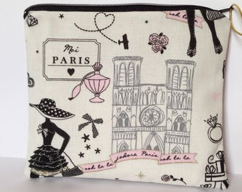 Pouch / case Paris - pink, white and gold