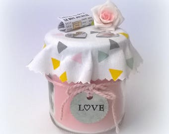 LOVE candle gift mother's day, pink, metal label